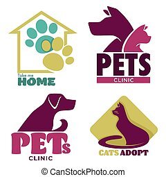 logo, animal, animaux familiers, abri, prendre, me, clinique, maison, graphique