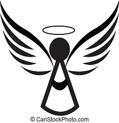 logo, anioł, ikona
