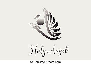 logo, anioł, przelotny