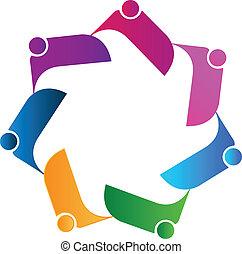 logo, anschluss, gemeinschaftsarbeit, leute