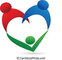 logo, anslutning, familj