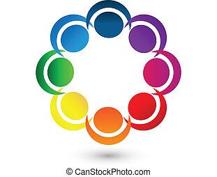 logo, app, collaboration, autour de, gens