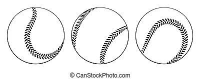 logo, app, icône, ensemble, icon., plat, conception, base-ball, vecteur, ui., isolé, illustration, white., balles, toile
