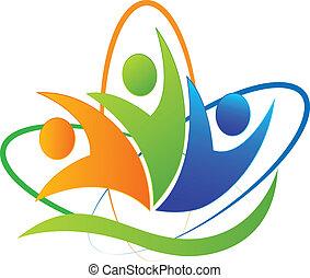 logo, app, lycklig, framgång, folk