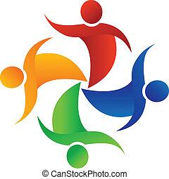logo, app., mensen, feestje