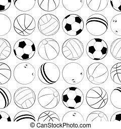 logo, app, seamless, icône, conception, plat, vecteur, sports, balls., différent, illustration, modèle, ui, toile