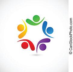 logo, app, towarzyski, teamwork, media