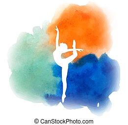 logo, aquarelle, ballet, 2