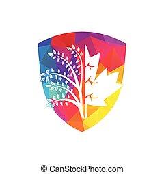 logo, arbre, érable, créatif, conception, pousse feuilles