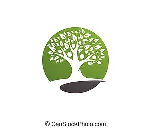 logo, arbre, famille, gabarit