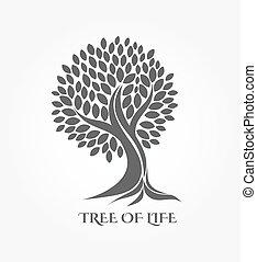 logo, arbre, ou, icône