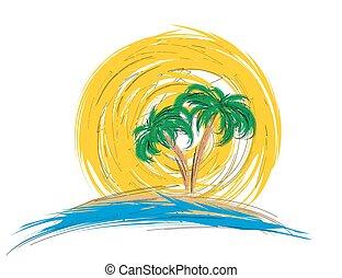 logo, arbre., paume, mer