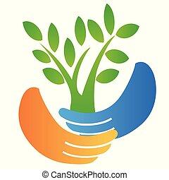 logo, arbre, tenant main