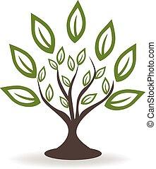 logo, arbre, vert