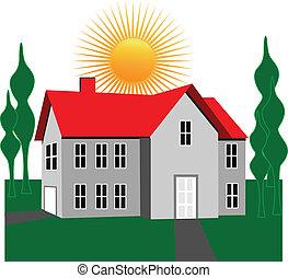 logo, arbres, maison, soleil