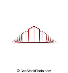 logo, architekt, rotes