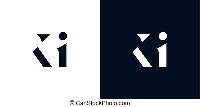 logo., astratto, lettera, ki
