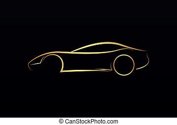 logo, auto, goldenes