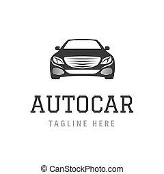 logo, autocar, concept., design, av, fordon, företag, skylt., vektor, illustration, bil, symbol, för, branding.