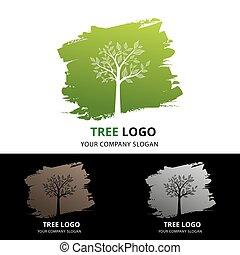 logo, av, träd, mot, grön, borsta, form