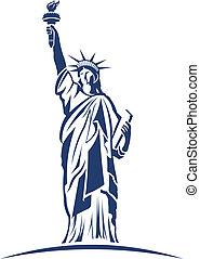 logo, avbild, staty, frihet