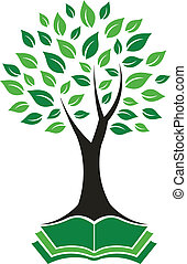 logo, avbild, träd, visdom