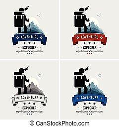 logo, avontuur, design., ontdekkingsreiziger, backpacker