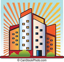 logo, bâtiments, vecteur