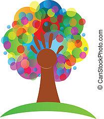 logo, bańki, drzewo, grona, ręka
