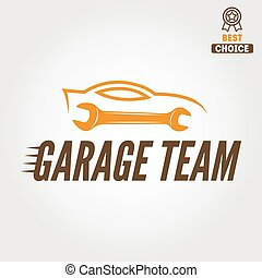 Logo, badge, emblem and logotype element for mechanic, garage, car repair and auto service