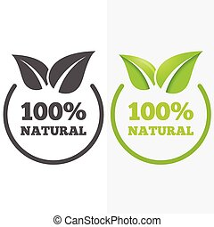 Logo, badge, label, logotype elements with leafs for web,...