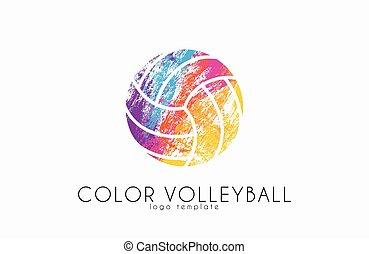 logo, ball., sport, design., couleur volley, balle, logo., créatif