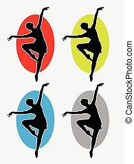 logo, ballerine, silhouette