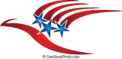 logo, bandera, ptak, usa