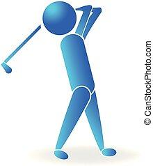 logo, bardziej golfowy, ikona