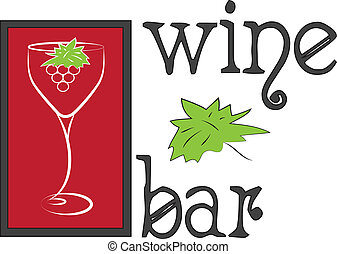 logo, barre, vin