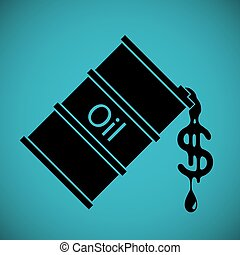 Logo barrel with oil. Drop fuel in the form of dollar currency.