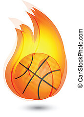 logo, basket-ball, flammes
