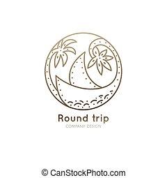 logo, bateau, tropiques