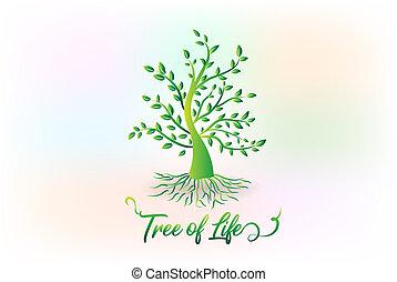 logo, baum, mit, blättert, ökologie symbol