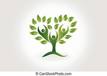 logo, baum, mit, blättert, gemeinschaftsarbeit, leute, symbol