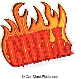 Logo bbq grill fire flames