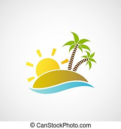 Logo beach with palm trees, the ocean and the sun.
