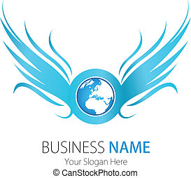 logo, bedrijf, ontwerp, vleugels, aarde