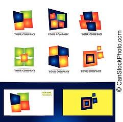 logo, bedrijf, set, pictogram