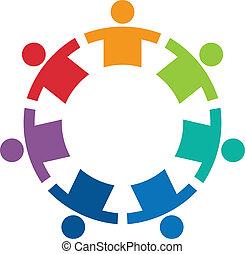 logo, beeld, cirkel, 7, team