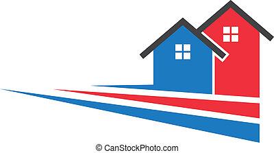 logo, beeld, twee, strepen, huisen