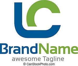logo, begreb, lc, brev