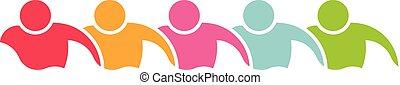 logo, beklæde, swimmers., illustration, folk