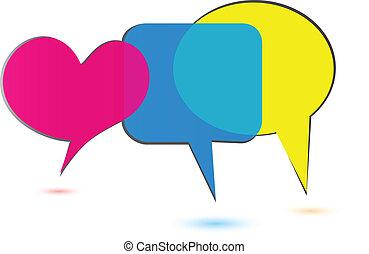 logo, bellen, sociaal, toespraak, media